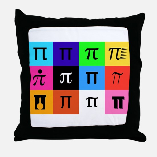 colorblock happy pi day Throw Pillow