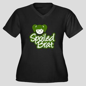 Spoiled Brat - Green Women's Plus Size V-Neck Dark