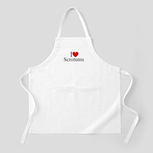"""I Love (Heart) Scrotums"" BBQ Apron"