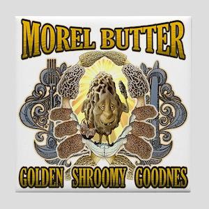 Morel mushroom butter gifts Tile Coaster