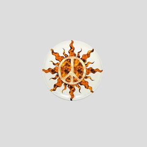 Flaming Peace Sun Mini Button