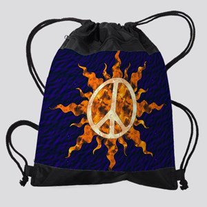 Flaming Peace Sun Drawstring Bag