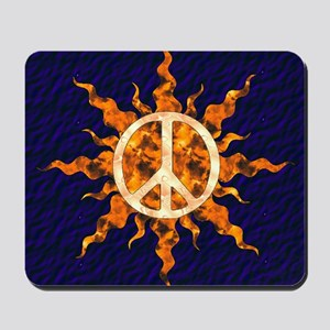 Flaming Peace Sun Mousepad
