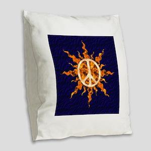 Flaming Peace Sun Burlap Throw Pillow