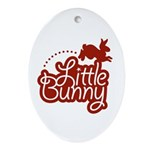 Little Bunny - Red Oval Ornament