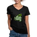 Little Bunny - Green Women's V-Neck Dark T-Shirt