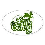 Little Bunny - Green Oval Sticker