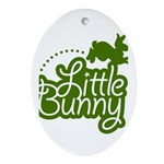 Little Bunny - Green Oval Ornament