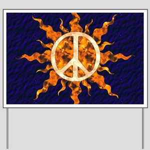 Flaming Peace Sun Yard Sign