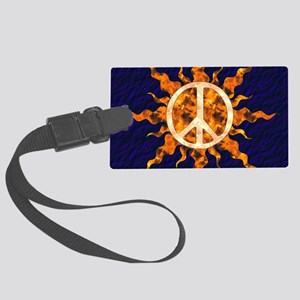 Flaming Peace Sun Large Luggage Tag