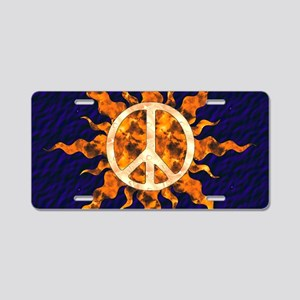 Flaming Peace Sun Aluminum License Plate
