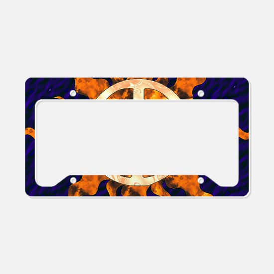 Flaming Peace Sun License Plate Holder