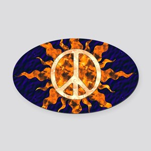 Flaming Peace Sun Oval Car Magnet