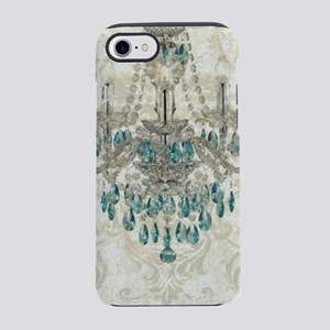 beige damask blue chandelier iPhone 8/7 Tough Case