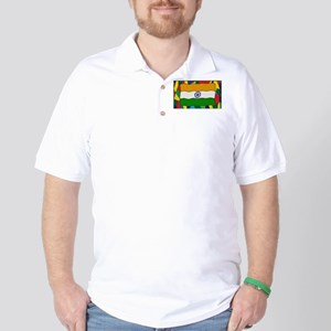 India Flag On Stained Glass Window Golf Shirt