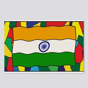 India Flag On Stained Gla Postcards (Package of 8)