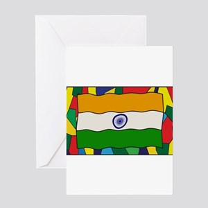 India Flag On Stained Glass Window Greeting Cards