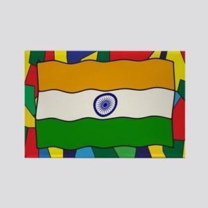 India Flag On Stained Glass Window Magnets