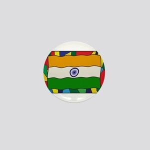 India Flag On Stained Glass Window Mini Button