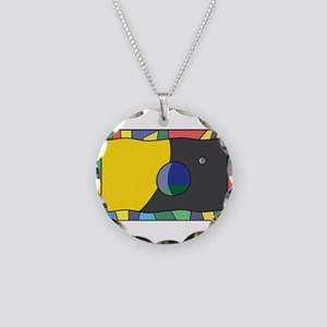 Planet Earth Flag On Stained Necklace Circle Charm