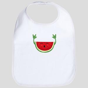 Dancing Watermelon Funny Smiling Melon Su Baby Bib