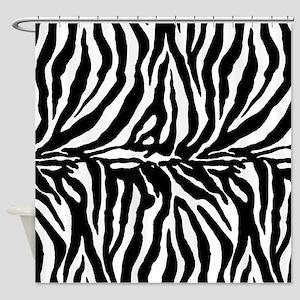 Zebra stripes, black Shower Curtain