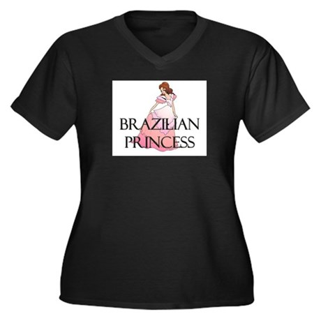 Brazilian Princess Women's Plus Size V-Neck Dark T