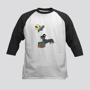 Dachshund Witch Halloween Kids Baseball Jersey