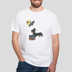 Dachshund Witch Halloween White T-Shirt