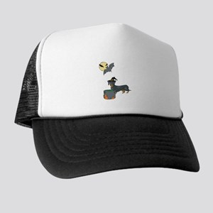 Dachshund Witch Halloween Trucker Hat