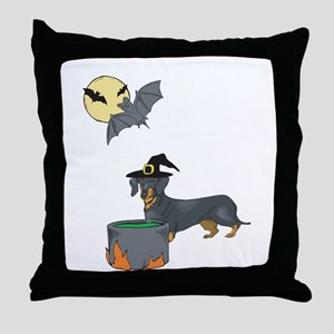 Dachshund Witch Halloween Throw Pillow