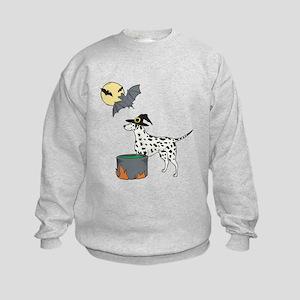 Dalmatian Witch Halloween Kids Sweatshirt