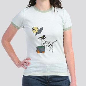 Dalmatian Witch Halloween Jr. Ringer T-Shirt