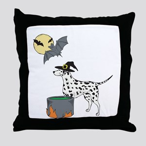 Dalmatian Witch Halloween Throw Pillow