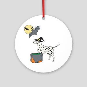 Dalmatian Witch Halloween Ornament (Round)