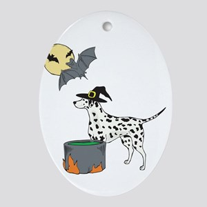 Dalmatian Witch Halloween Oval Ornament