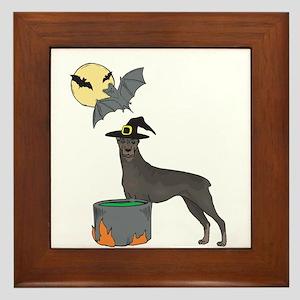 Doberman Witch Halloween Framed Tile