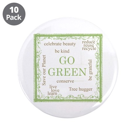 """Go Green! 3.5"""" Button (10 pack)"""