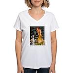 Midsummer's Eve & Saluki Women's V-Neck T-Shirt
