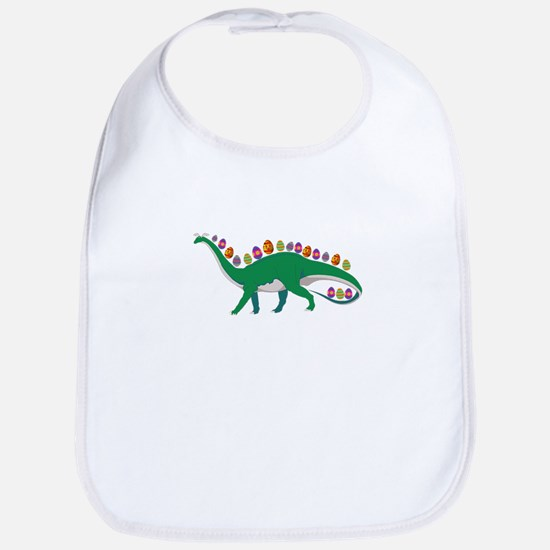 Dinosaur With Easter Eggs and Bunny Ears Baby Bib