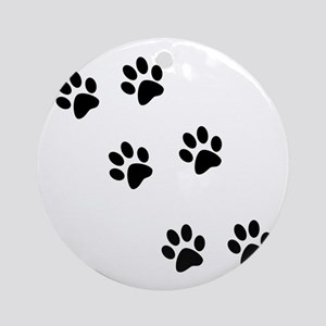 Walk-On-Me Pawprints Ornament (Round)