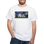 Starry Night / Min Schnauzer White T-Shirt