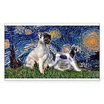 Starry Night / Min Schnauzer Sticker (Rectangle)