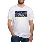 Starry Night / Min Schnauzer Fitted T-Shirt