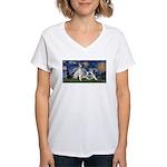 Starry Night / Min Schnauzer Women's V-Neck T-Shir