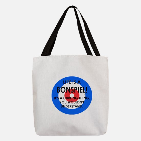 Curling - Life Is A Bonspiel Polyester Tote Bag
