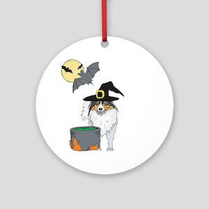 Sheltie Witch Halloween Ornament (Round)