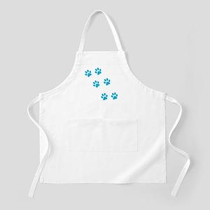 Blue Walk-On-Me Pawprints BBQ Apron