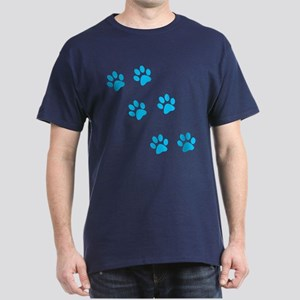 Blue Walk-On-Me Pawprints Dark T-Shirt