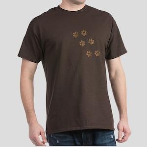 Brown Walk-On-Me Pawprints Dark T-Shirt